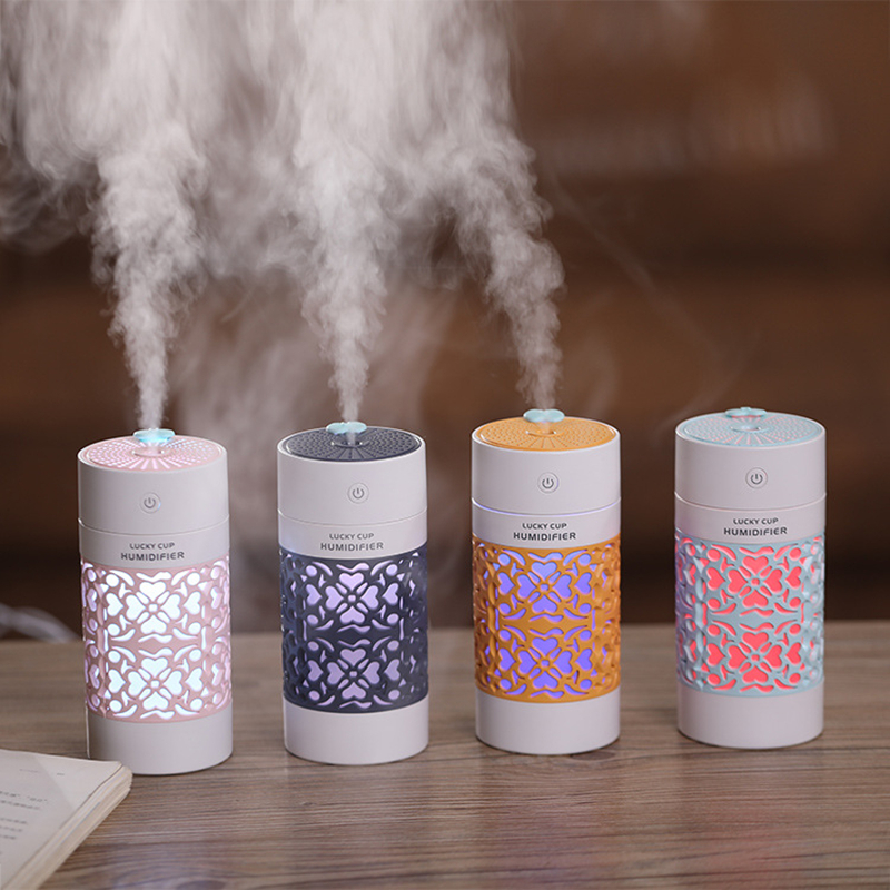 Humidificador 250ml USB Aroma Diffuser Ultrasonic Air Purifier Freshener Air Humidifier Essential Oil Diffuser LED Lucky Cup