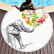 Large Round Beach Towel With Tassel Sunbathe Swim Cover Outdoor Blanket Picnic Mat Summer Yoga Beach towel 150x150cm w15-60(China)