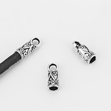 20pcs Antique Silver Carved Pattern Flat End Cap Bead Fit 3mm Round Leather Cord Bracelet Making Fashion Jewelry