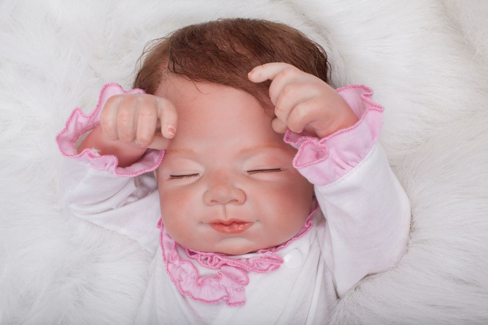 50cm soft body silicone reborn baby doll toy lifelike baby reborn sleeping newborn boy doll kids birthday gift girl brinquedos 55cm Soft Body Silicone Reborn Baby Doll Toys Lifelike Smile Newborn Sleeping Baby-Reborn Doll Kid Birthday Gift Girl Brinquedos