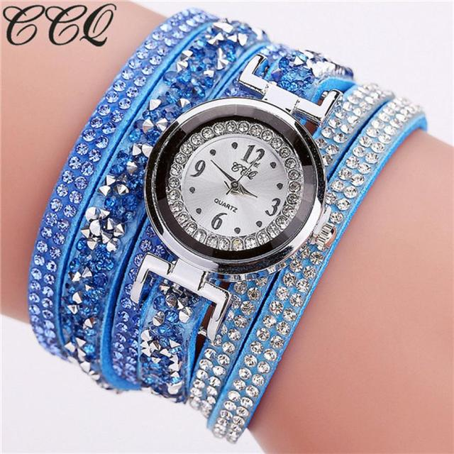 CCQ Women Fashion Rhinestone Bracelet watches women wrist Casual Analog Quartz W
