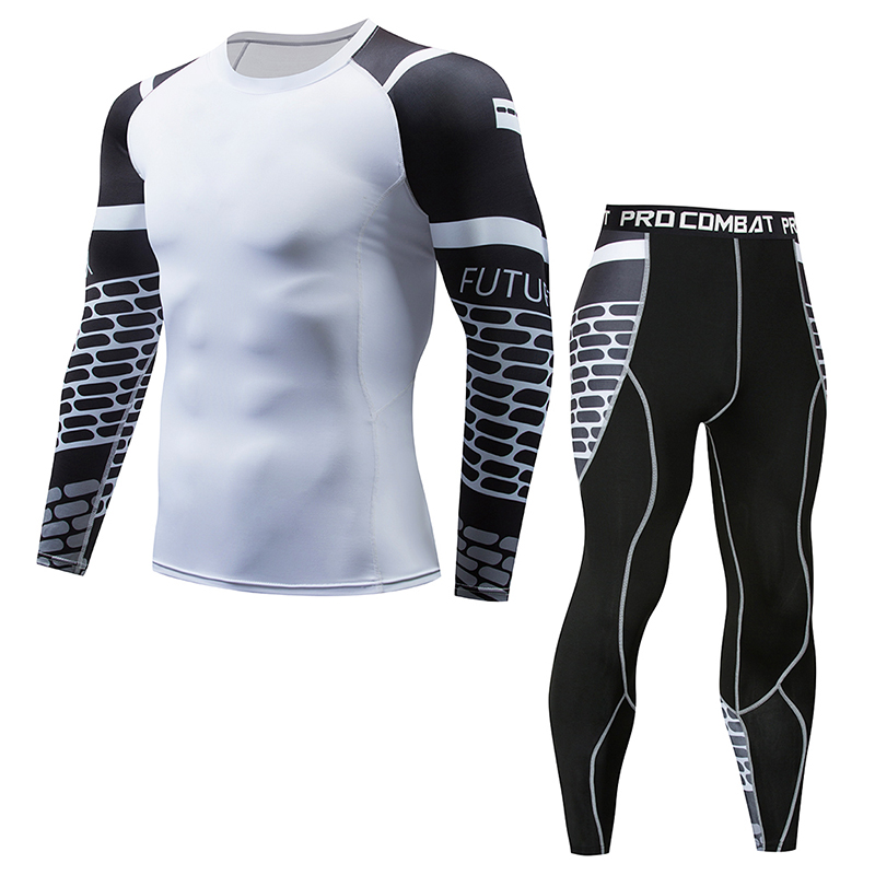 2018 New Men Sets mma Compression Fleece Sweat Quick Drying Men Clothing Long Johns ...