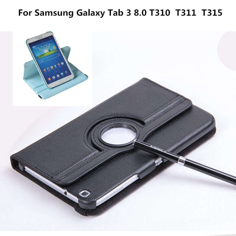 Rotary Stand PU Leather Cover Case For Samsung Galaxy Tab 3 8.0 inch T311 T310 T315 Tablet SM-T310 SM-T311 SM-T315 pu leather tablet case cover for samsung tab 3 8 0 t310 t311 t315 sm t310 sm t311 tablet case stand e book protective case pen