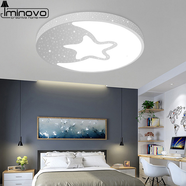 Led Ceiling Light Modern Lamp Panel Star Lighting Fixture Children Bedroom Hall Surface Mount Flush Remote Control Kids