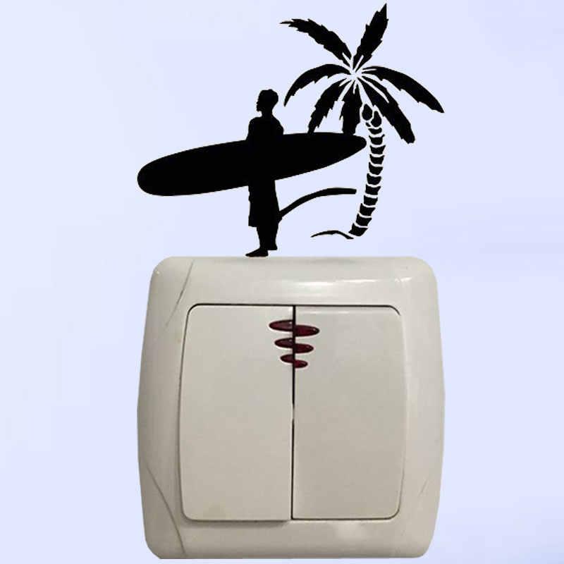 YJZT Surfer Guy Mann Mit Surfen Bord Palm Baum Strand Wand Aufkleber Vinyl Licht Schalter Aufkleber Schlafzimmer 8SS2290
