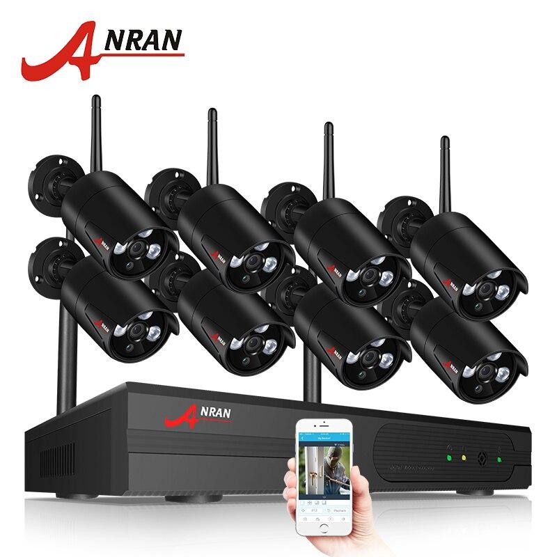 ANRAN 8CH CCTV Système Sans Fil 1080 p NVR Avec 2.0MP En Plein Air Étanche Wifi Système de Caméra de Vision Nocturne de Surveillance de Sécurité Kit