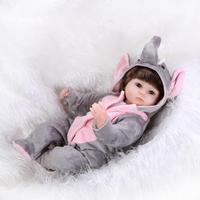 Nicery 18 polegadas 45 cm Boca Macia Silicone Lifelike Renascer Baby Doll Magnético Presente Brinquedo de Menina para Crianças Natal Cinza elefante