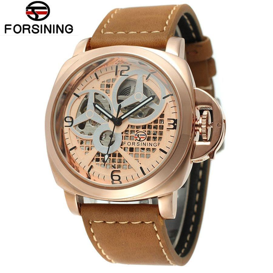 Original 2017 FORSINING Casual Relogio Masculino Watch Skeleton Auto Mechanical Men Steel Watches Wristwatch  Free Ship 2015 forsining relogio pmw342