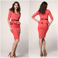 2017 Real Bohemian Straight Spring Ankle-length Full Office Dress Long Sleeve Belted Peplum Midi Dress - Lc6163 High Street New