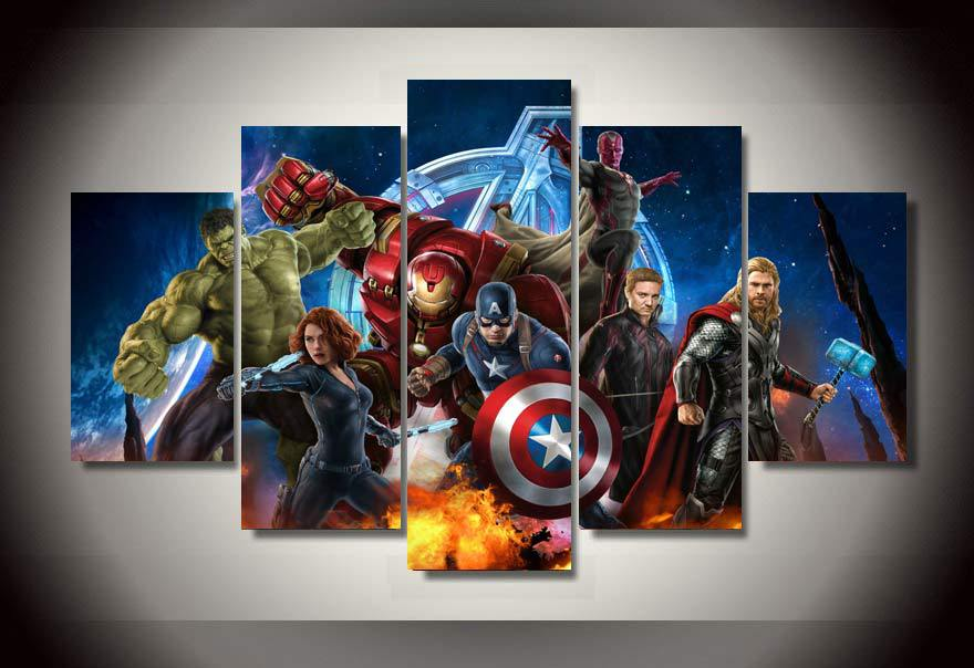 unframed printed avengers animation 5 piece picture