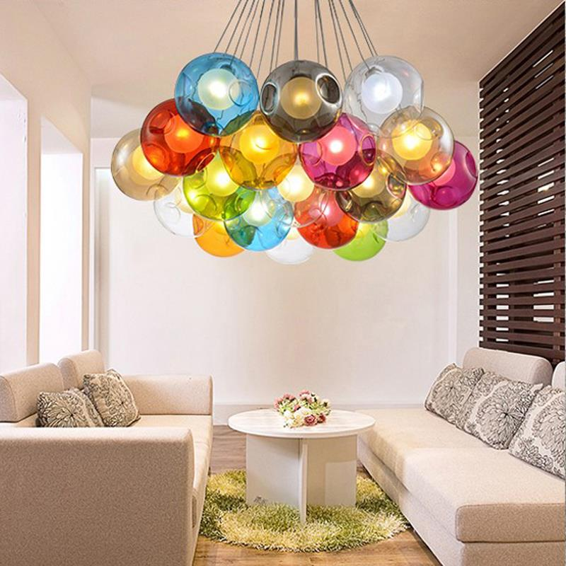 Creative design modern led colorful glass pendant lights lamps for creative design modern led colorful glass pendant lights lamps for dining room living room bar led g4 96 265v glass lights in pendant lights from lights aloadofball