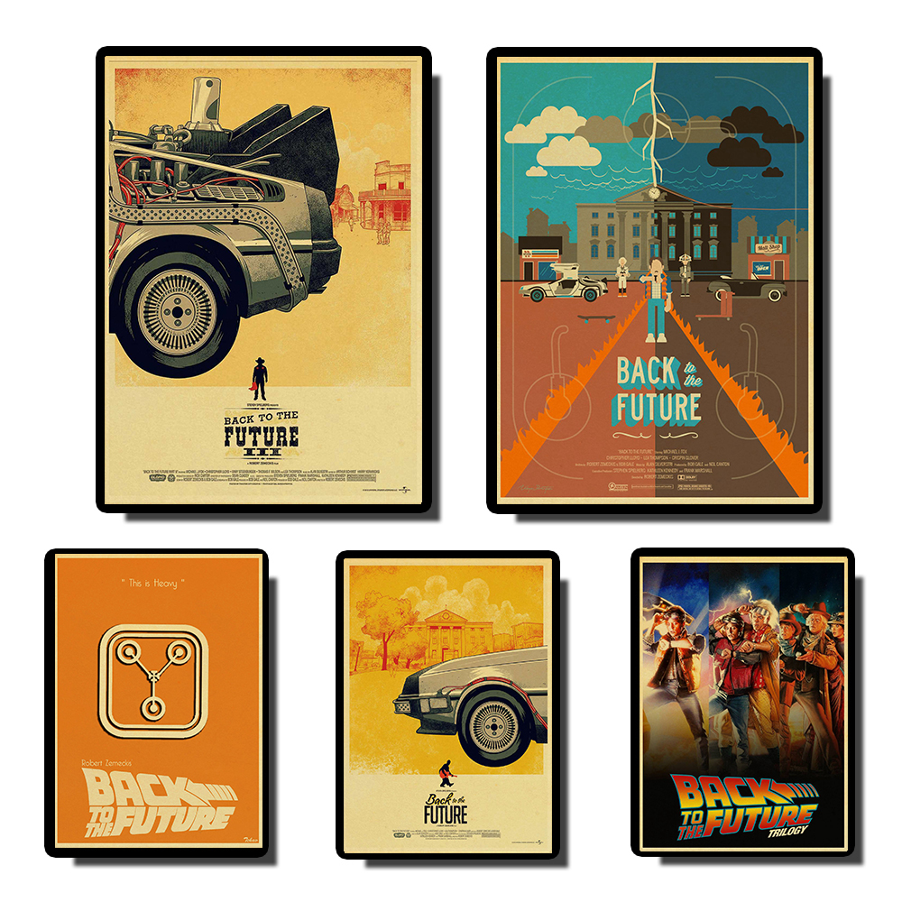 Classic Movie Back To The Future Vintage Poster Movie High Quality Tableau Mural For Living Room Home Decoration Coffee Bar