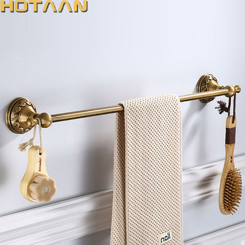 Antique Brass Bathroom Towel Holder Single Towel Bar Towel Rack Solid Aluminium Towel Rail 30/40/45/50/60cm Bathroom Accessories