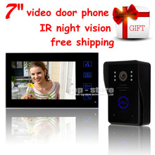 DIYSECUR Wholesale Key Touch Video de La Puerta Teléfono de Bell de Puerta de 7 pulgadas Lcd de Vídeo Con la Cámara de INFRARROJOS De Home Portero
