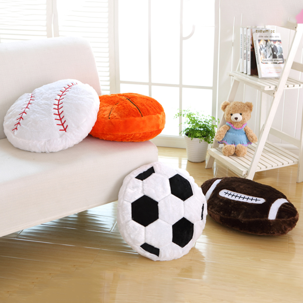 MrY Sports Pillow Toy Novelty Stuffed Gift Basketball Baseball Rugby Football Soccer Ball Home Bar Cafe Decorative Plush Cushion