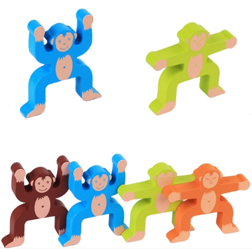 Wooden monkey balance building blocks game toy for children wood children early childhood education toys