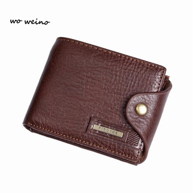 wo weino Small wallet men multifunction purse men wallets with coin pocket zipper menleather wallet male