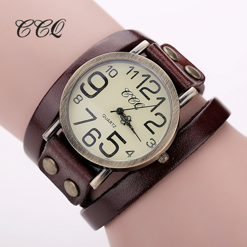 2016 CCQ Brand Hot Antique Leather Bracelet Watch Vintage Women Wrist Watch Fashion Unisex Quartz Watch Relogio Feminino BW1373 ccq luxury brand vintage leather bracelet watch women ladies dress wristwatch casual quartz watch relogio feminino gift 1821