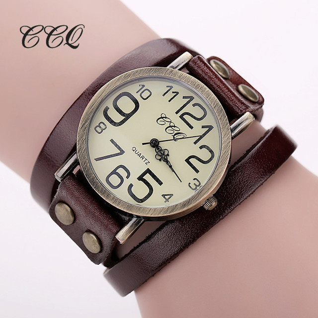 2016 CCQ Brand Hot Antique Leather Bracelet Watch Vintage Women Wrist Watch Fash
