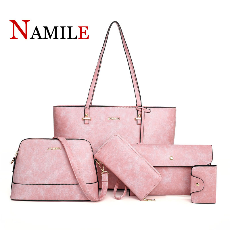 Classic fashion solid color atmosphere luxury elegant lady handbag set five-pieceClassic fashion solid color atmosphere luxury elegant lady handbag set five-piece
