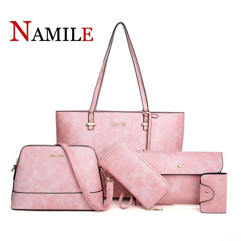 Mode classique solide couleur atmosphère luxe élégant dame sac à main ensemble cinq pièces