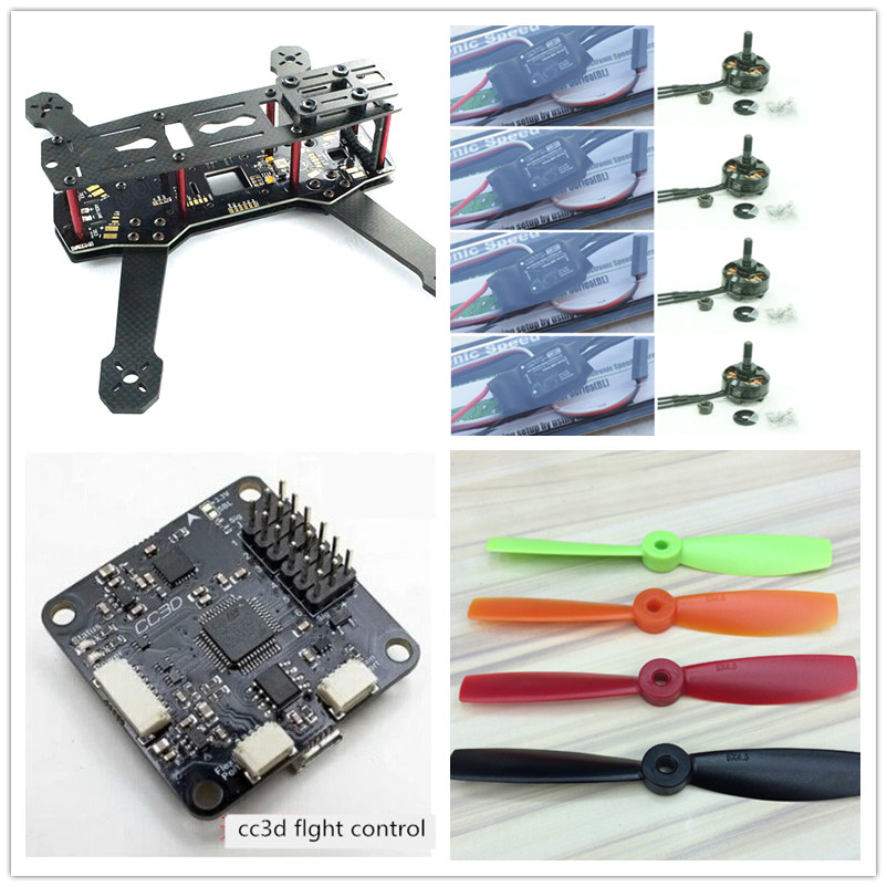 DIY FPV mini drone ZMR250 advanced kit pure carbon fiber frame+cobra CM2204 2300KV motor +Cobra 12A  ESC +CC3D +5 inch prop diy mini fpv 250 racing quadcopter carbon fiber frame run with 4s kit cc3d emax mt2204 ii 2300kv dragonfly 12a esc opto
