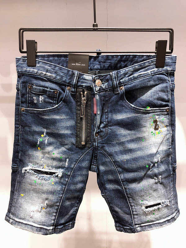 Free shipping Brand DsqPleind2 Men's short Jeans Denim Shorts for man Zipper Hole stretch Slim distressed Real Picture