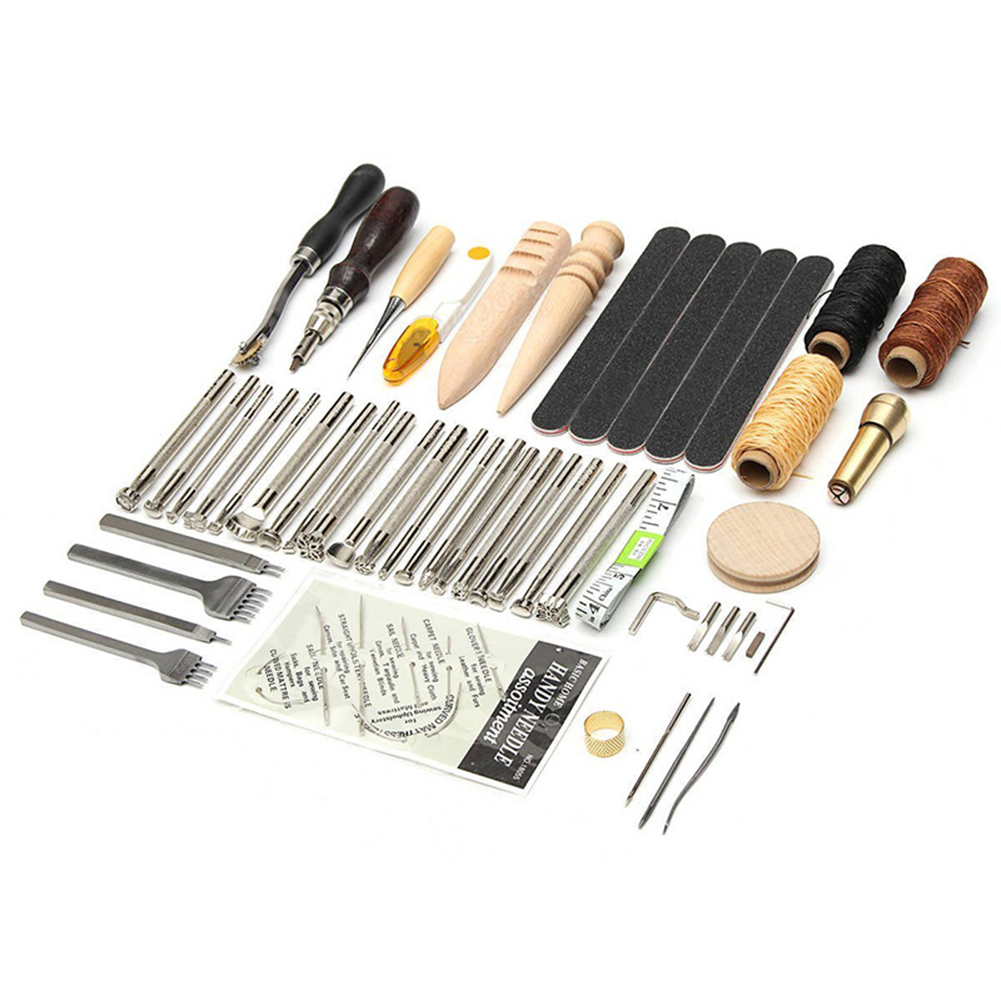 59PCS Leather Craft Tool Leather Sewing Tools Kit Stitching Carving Working Sewing Saddle Groover Leather Craft Tools Set