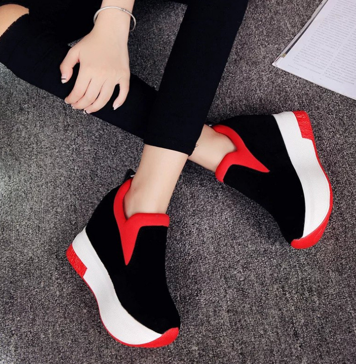 XEK 2018 Women Increased Shoes Women Fashion Platform Loafers Printed Casual Shoes Woman Wedges Shoes Breathable ZLL300 4