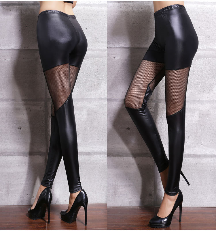Sexy Women Matte Faux Leather Transparent Pencil Pants Casual See Through Fit Tight  Erotic Lingerie Club Wear FX1019