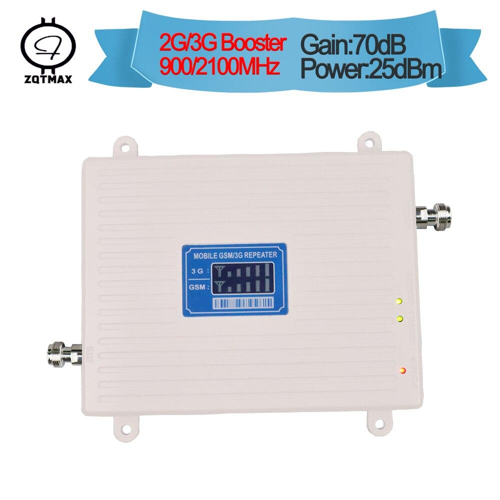 ZQTMAX amplificateur cellulaire 3G répéteur WCDMA UMTS 2100 2G GSM 900 Mhz double bande amplificateur de signal de téléphone portable 70dB