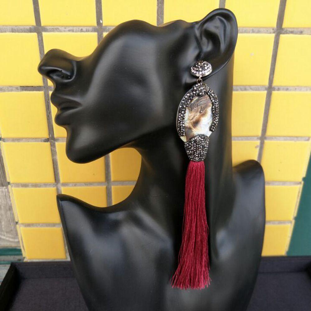 16.5cm /6.5inch long tassel earrings for women luxry handmade earrings with shell beauty woman map red green drop dangle earring
