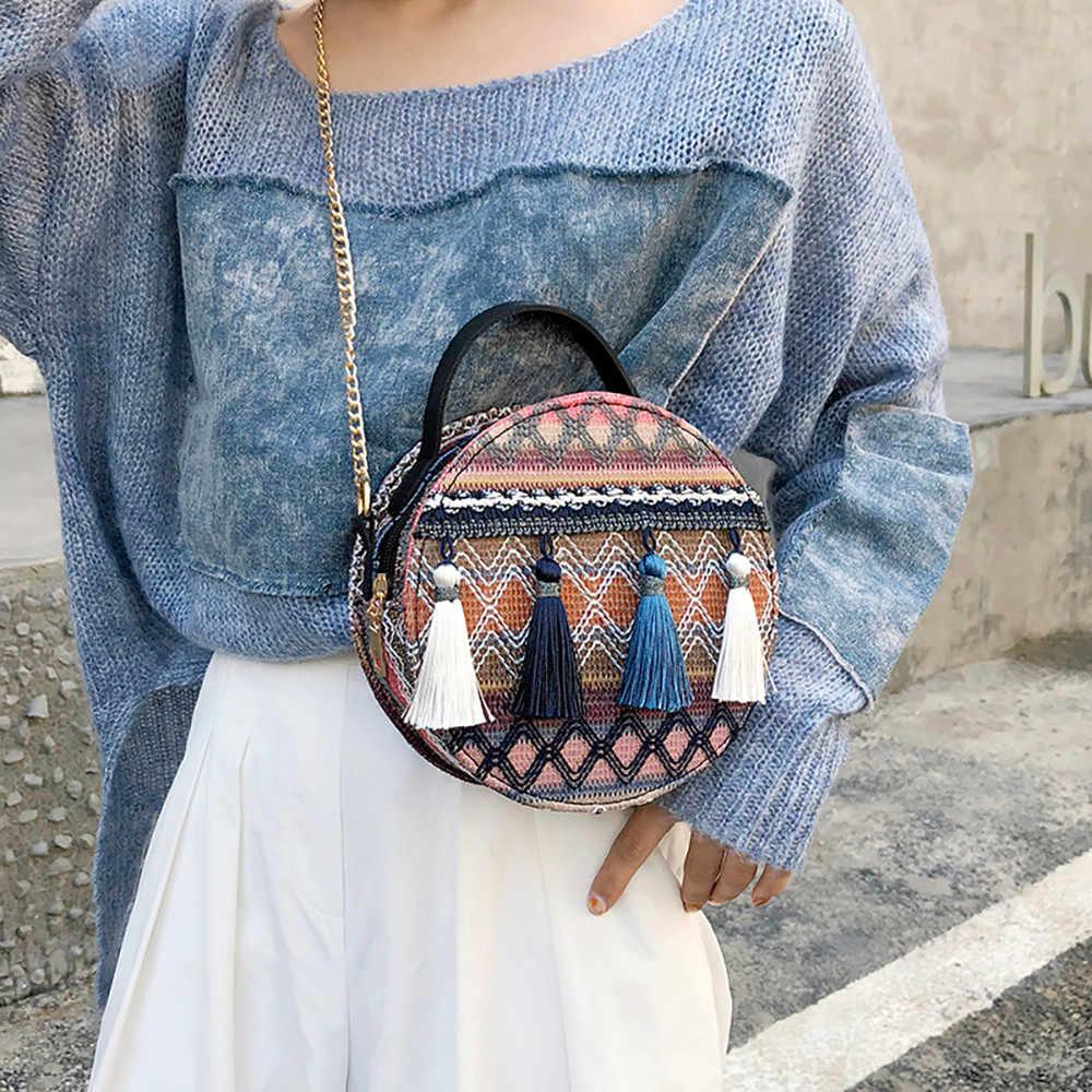 Bolsa Das Mulheres do estilo nacional rodada pequena cadeia Crossbody bag tassel Shoulder Bag Messenger Bags Sac Drop Shipping # H10
