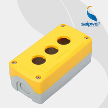 3 Holes High-tension Insulation Push Button Box , Yellow Cover   5.39″*2.68″*2.13″  IP65 Box