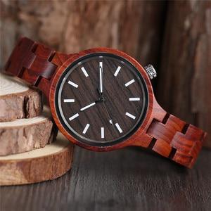 Image 3 - Mode frauen Uhr Natürliche Sandale Holz Bambus Holz Uhren Damen Armband Armbanduhr Quarz Analog Casual Uhr Uhren