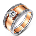 EDI Edison Moissanites Two-tone Gold Mens Band Gentleman Jewelry Rose Gold Solitaire Lab Grown Diamond Half Pave Engagement Ring