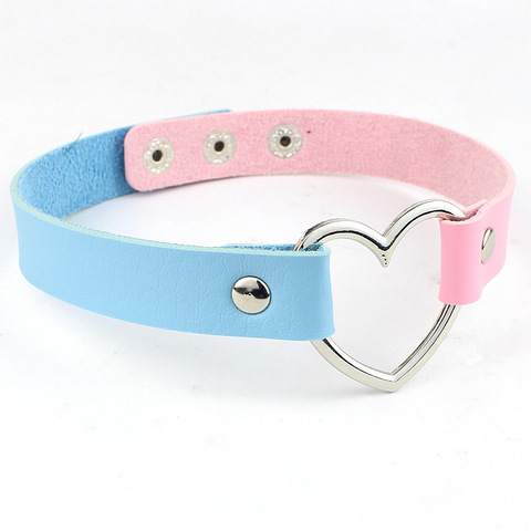 Charm female PU choker Stainless Steel Heart Chokers Necklaces Colorful Leather Buckle Belt Jewelry for Women Men maxi colar Karachi