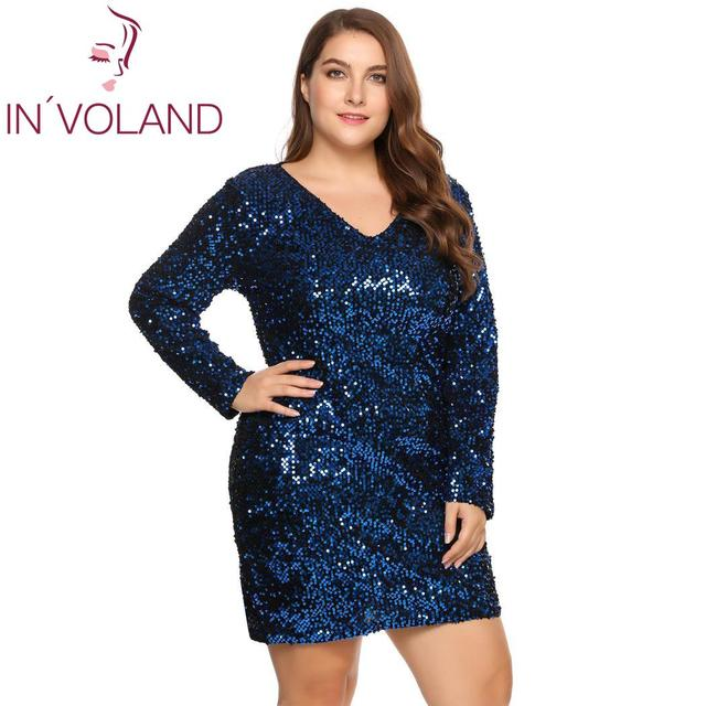 IN'VOLAND Women's  Dress Plus Size Sexy Deep V-Neck Long Sleeve Sequined Bodycon Cocktail Club Sheath Loose Ladies Dresses 2