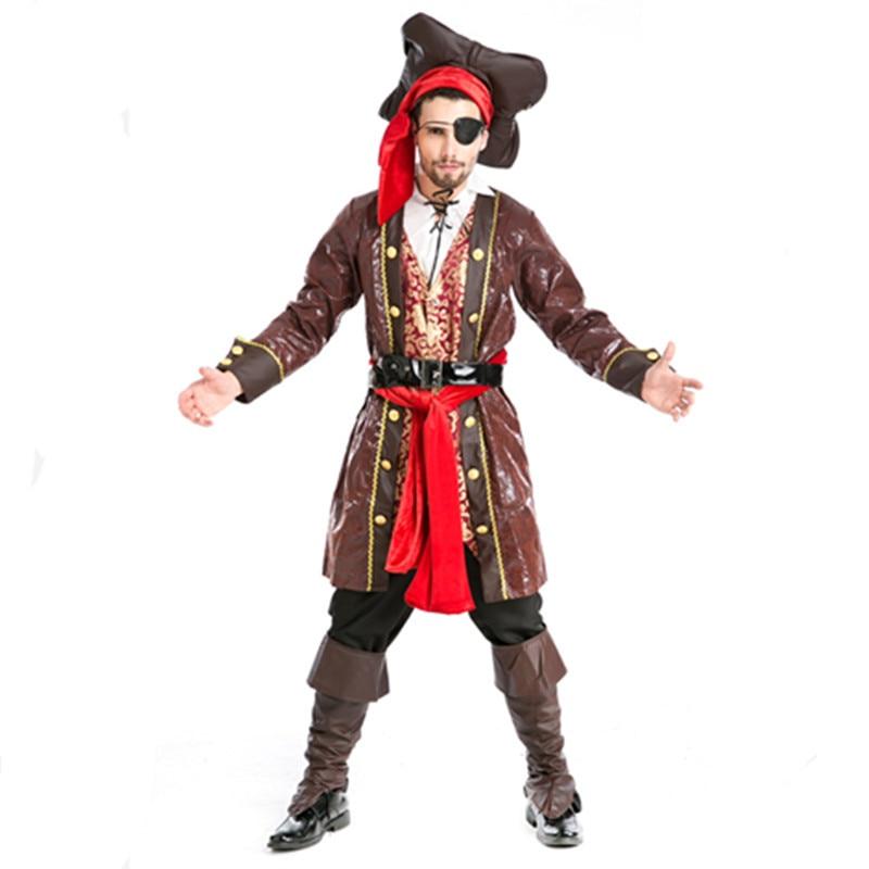 mens pirate costume jake pirate costume adult male pirate costume halloween cosplay clothing cosplay v chest pirate costume w turban eyeshade black
