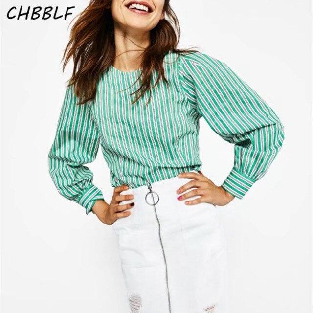 d192177c6796b Nova primavera mulheres chegada casual camisa listrada manga comprida  popeline blusa Verde menta DFJ76051