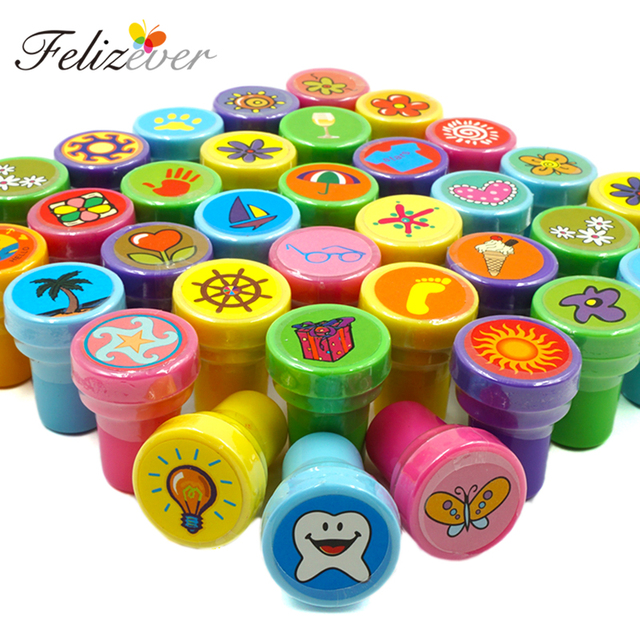 36PCS Self Ink Stamps Kids Birthday Party Favors For Giveaways Gift Toys Boy Girl