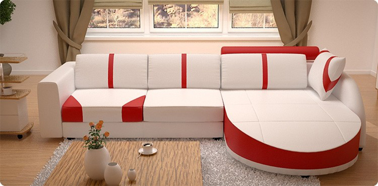 White/Red,White/Black Sectional Living Room Sofa Set