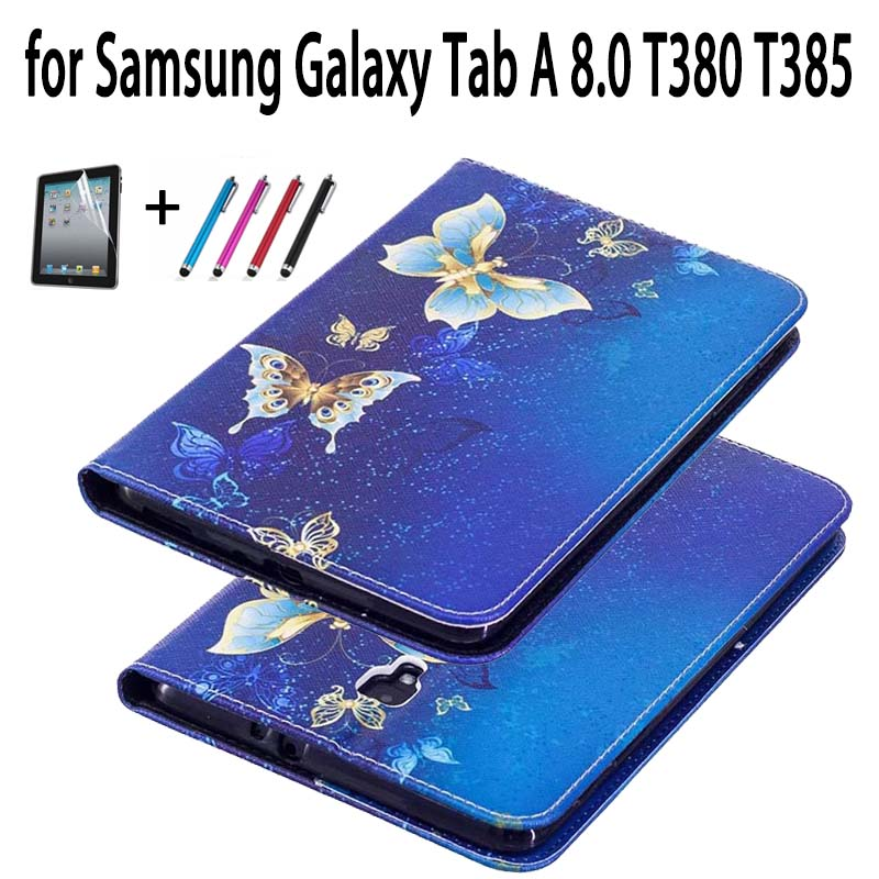Tab A T380 T385 Tablet Case PU Leather Wallet Flip Cover Case For Samsung Galaxy Tab A 8.0 T380 SM-T385 8'' 2017 Case luxury tablet case cover for samsung galaxy tab a 8 0 t350 t355 sm t355 pu leather flip case wallet card stand cover with holder
