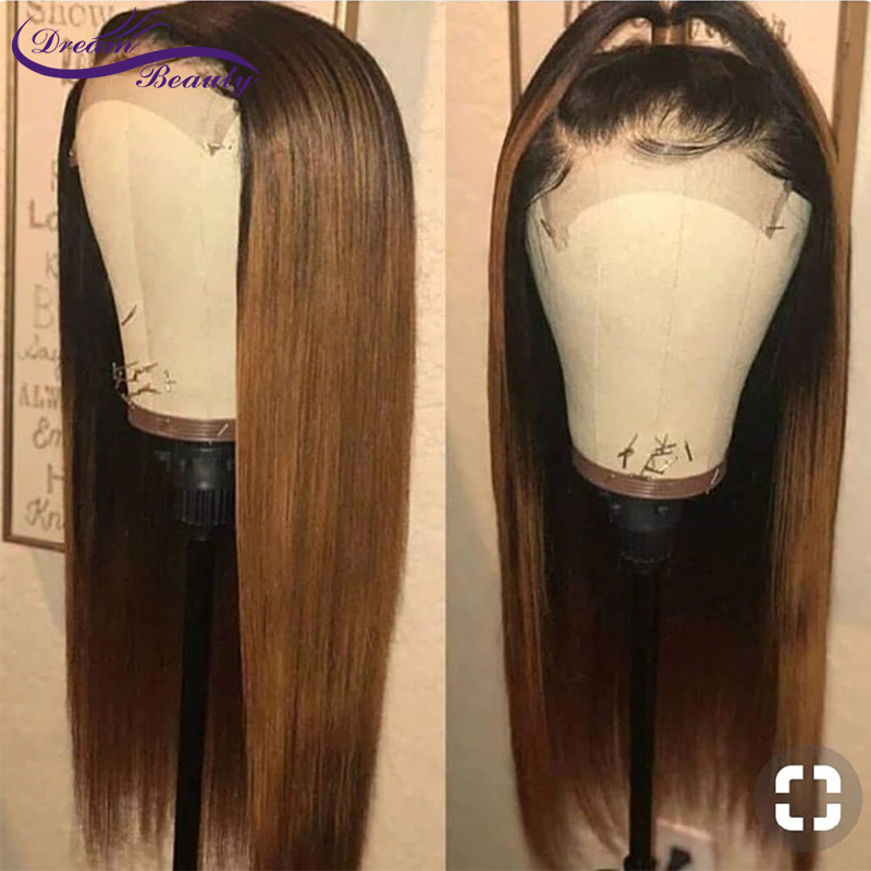 1B/27 Dark Roots Honey Blonde Lace Front Hair Wig Long Straight 100% Human Hair Wig Pre Plucked 13x6 Lace Front Wig Dream Beauty