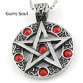 Red Rhinestone Pentagram Pendant 316L Stainless Steel Necklace Cool Gift Lover Biker Hit Hop Punk Rock Round 2015 New LP482