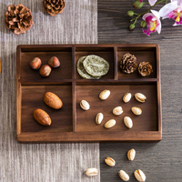 Wood Ruled Dried Fruit Snack Tray Storage Box Creative Household Living Room Fruit Plate Candy Dish