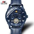 Мужские часы TEVISE  с ремешком из натуральной кожи  наручные часы Tourbillon  римские механические Автоматические часы T851A  Прямая поставка