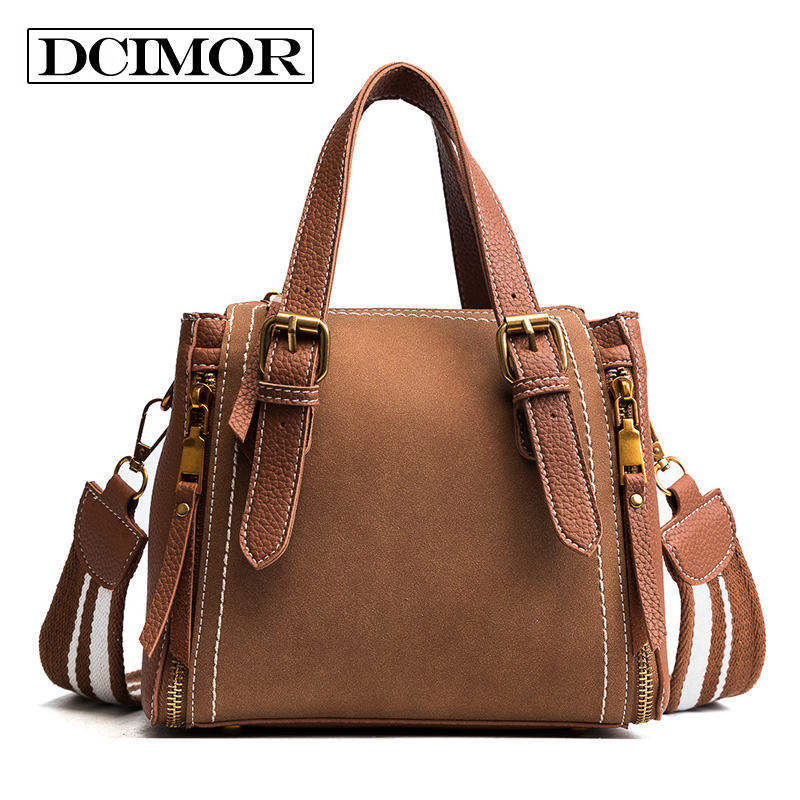 DCIMOR High Quality Women Bag Fashion PU Leather Women Handbag Casual Women Shoulder Bag Female Wide straps Frosted Satchel bags