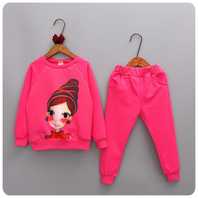2016 Korean New Pattern Autumn 2 Pieces Set Girl Garment Girl Baby Sweater Base Bottoming Unlined Upper Sports Pants You Suit