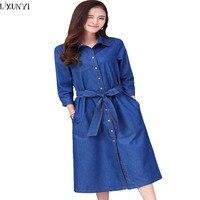 5XL 6XL High Quality Denim Dresses Women 2017 Korean Long Denim Dress Plus Size Vestidos Mujer